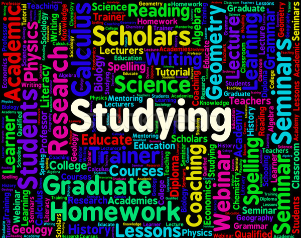 Stock photo: Studying Word Means University Schooling And Train