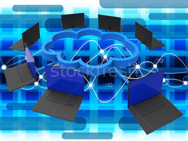 Cloud Computing Shows Global Communications And Computer Stock photo © stuartmiles