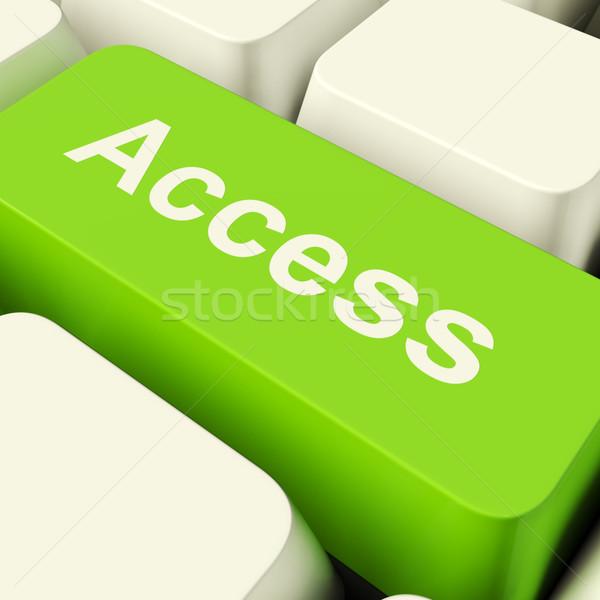 Accès ordinateur clé vert autorisation Photo stock © stuartmiles