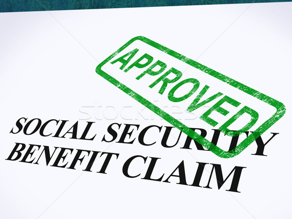 Social Security Claim Approved Stamp Shows Social Unemployment B Stock photo © stuartmiles