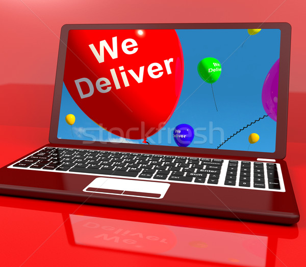 We Deliver Balloons On Computer Showing Delivery Shipping Servic Stock photo © stuartmiles