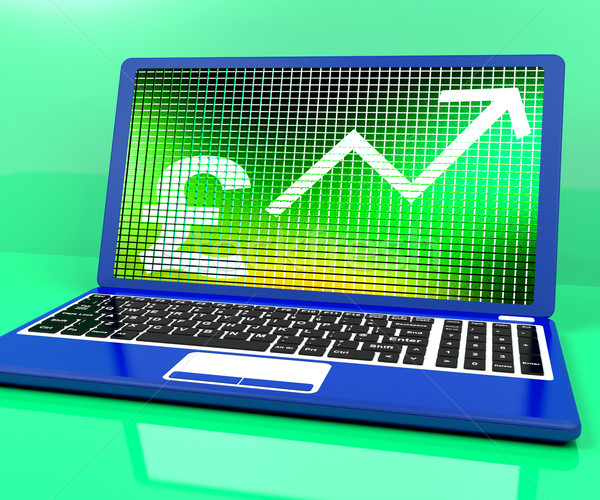 Pound Sign And Up Arrow On Laptop For Earnings Or Profit Stock photo © stuartmiles