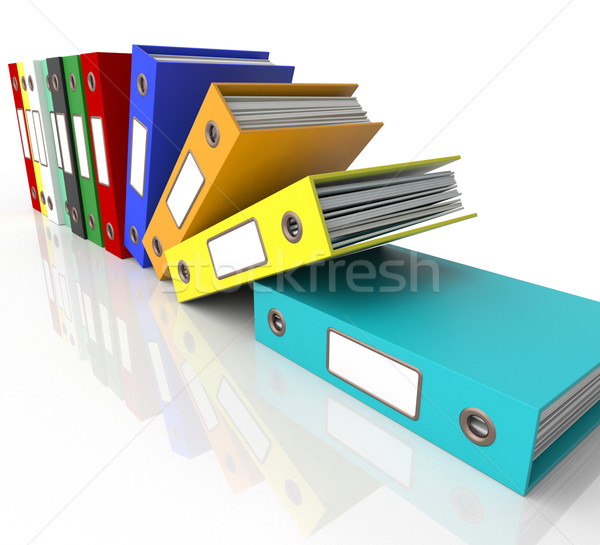 Row Of Falling Files For Getting Organized Stock photo © stuartmiles