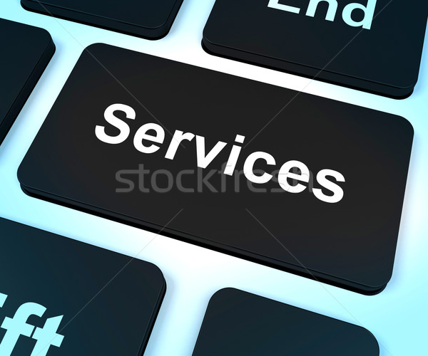 Services Computer Key Shows Help And Assistance Stock photo © stuartmiles