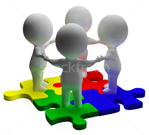Puzzle Solved And 3d Characters Shows Unity And Teamwork Stock photo © stuartmiles