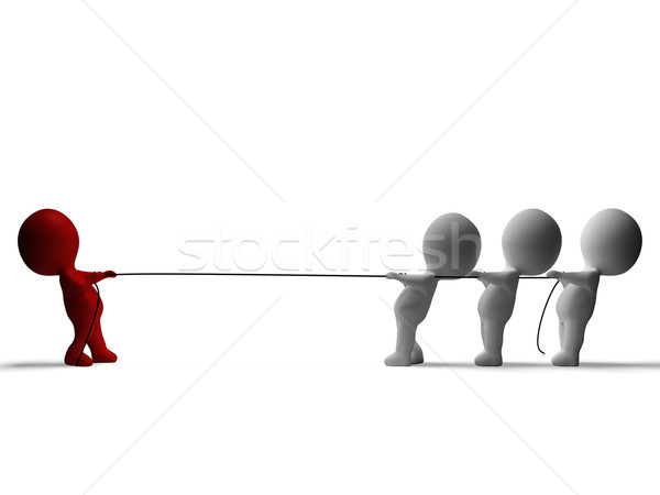 Tug Of War 3d Characters Shows Conflict And Adversity Stock photo © stuartmiles