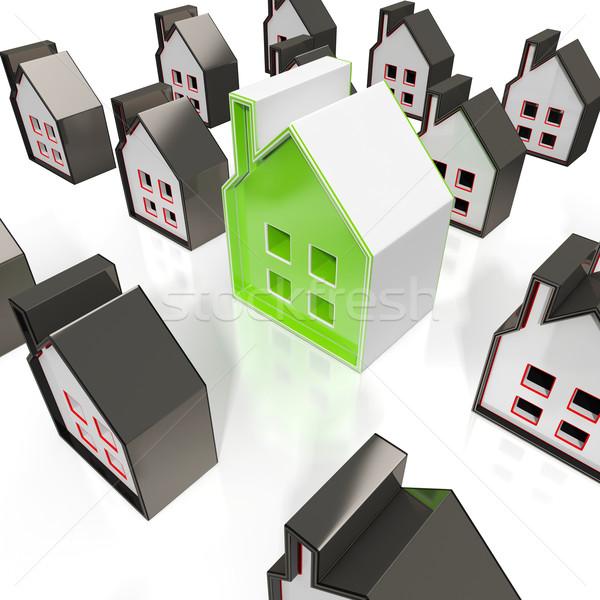 Huis symbolen eigendom verkoop gebouwen gebouw Stockfoto © stuartmiles