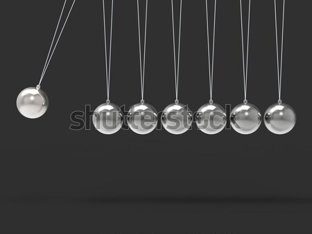 Nine Silver Newtons Cradle Shows Blank Spheres Copyspace For 9 L Stock photo © stuartmiles
