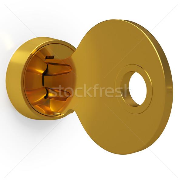 латунь ключевые блокировка безопасности защиту Сток-фото © stuartmiles