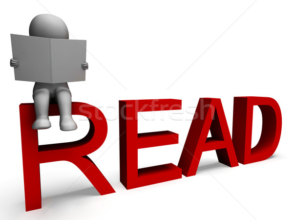 3D karakter olvas értelem műveltség Stock fotó © stuartmiles