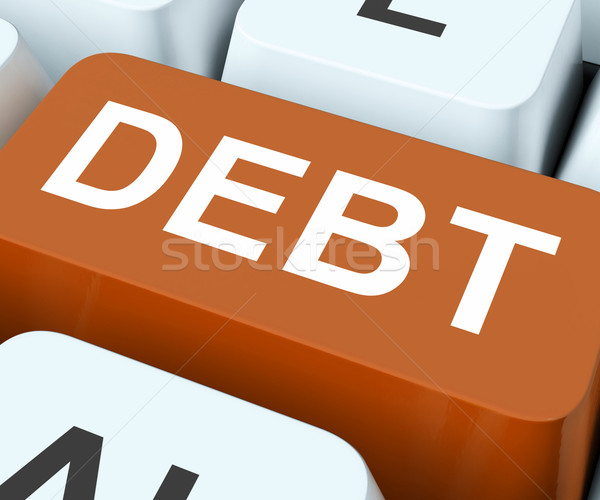 Stock photo: Debt Key Show Indebtedness Or Liabilities
