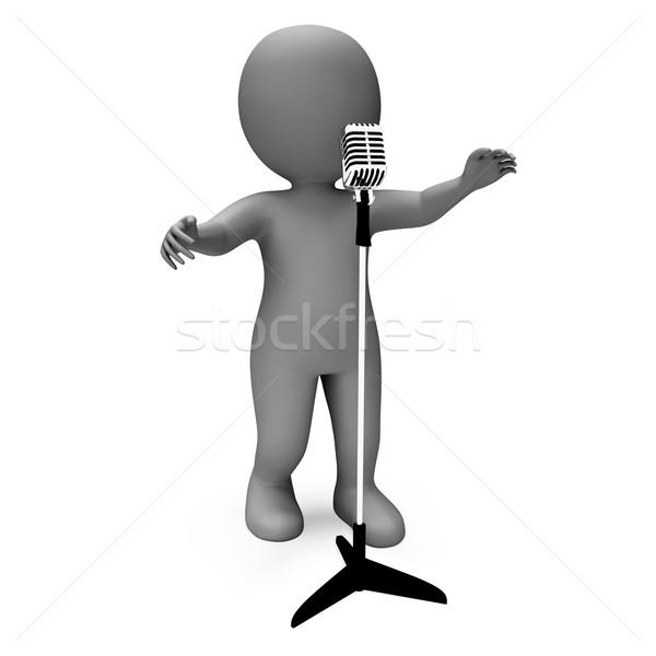 Piosenkarka charakter śpiewu talent mikrofon koncertu Zdjęcia stock © stuartmiles