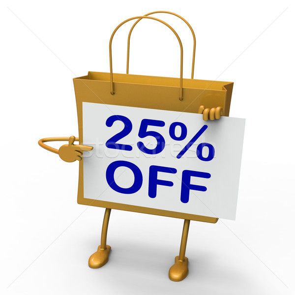 Twenty-five Percent Reduced On Shopping Bags Shows 25  Bargains Stock photo © stuartmiles