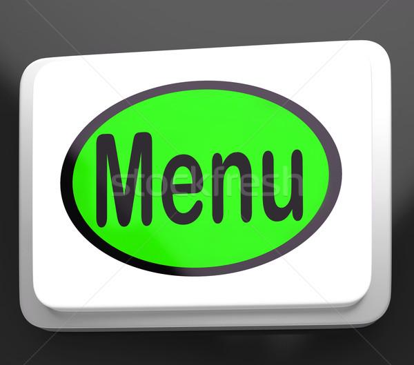 Menu Button Shows Ordering Food Menus Online Stock photo © stuartmiles
