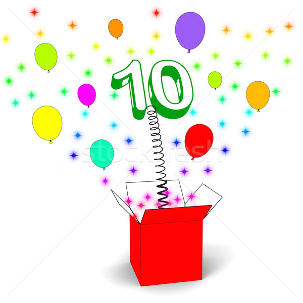 Number Ten Surprise Box Shows Numerical Toy Or Adornment Stock photo © stuartmiles