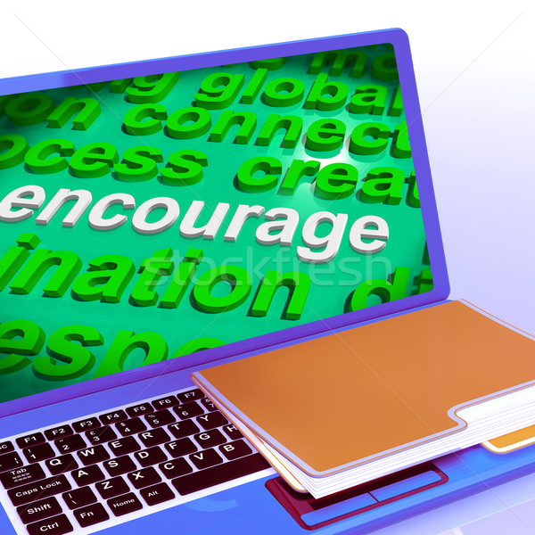 Encourage Word Cloud Laptop Shows Promote Boost Encouraged Stock photo © stuartmiles