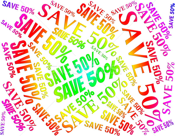 Fifty Percent Off Represents Bargains Word And Sale Stock photo © stuartmiles
