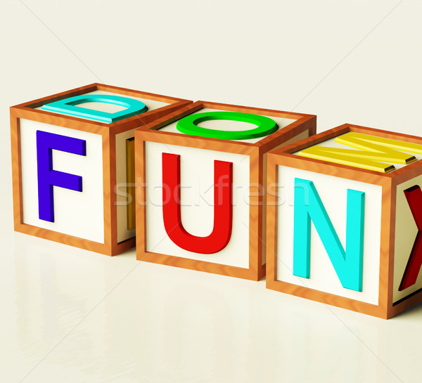 Kids Blocks Spelling Fun As Symbol for Enjoyment And Playing Stock photo © stuartmiles