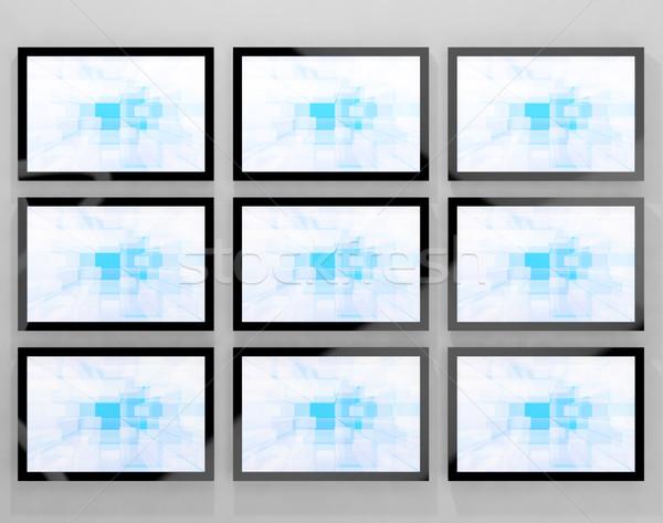 Tv fal nagyfelbontású televízió kék tech Stock fotó © stuartmiles