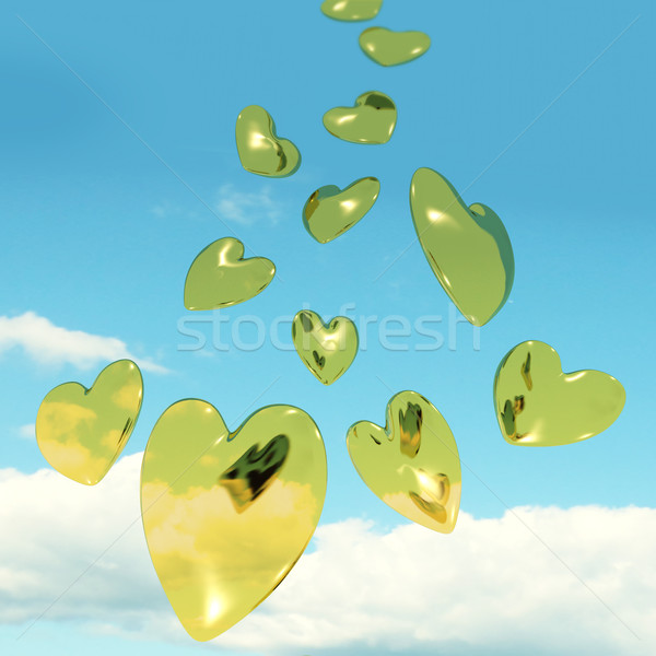 Metallic Gold Hearts Falling From The Sky Showing Love And Roman Stock photo © stuartmiles