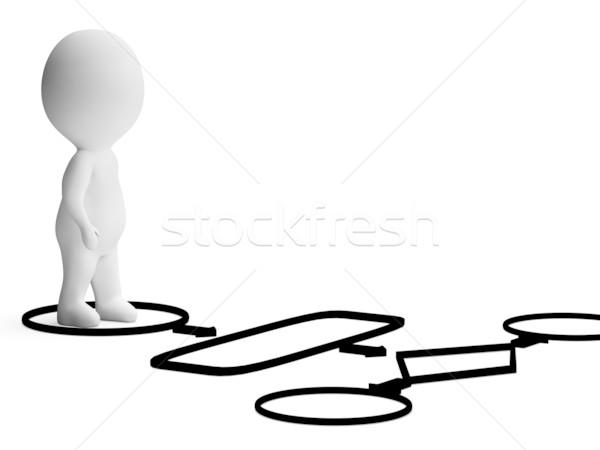 Folyamatábra 3D karakter mutat folyamat eljárás Stock fotó © stuartmiles