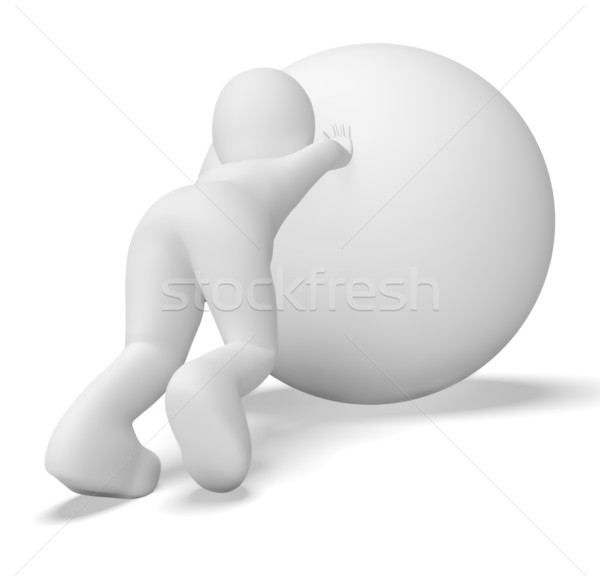 Struggling Uphill Man With Ball Shows Determination Stock photo © stuartmiles