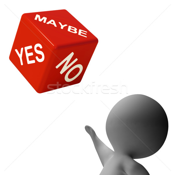 Maybe Yes No Dice Shows Uncertainty And Decisions Stock photo © stuartmiles