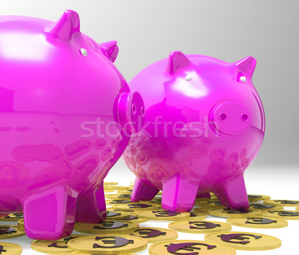 Piggybanks On Euro Coins Showing Richness Stock photo © stuartmiles