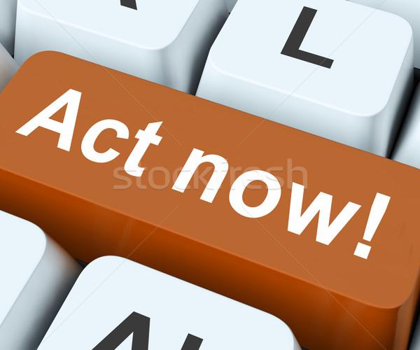 Agir agora chave ação teclado Foto stock © stuartmiles