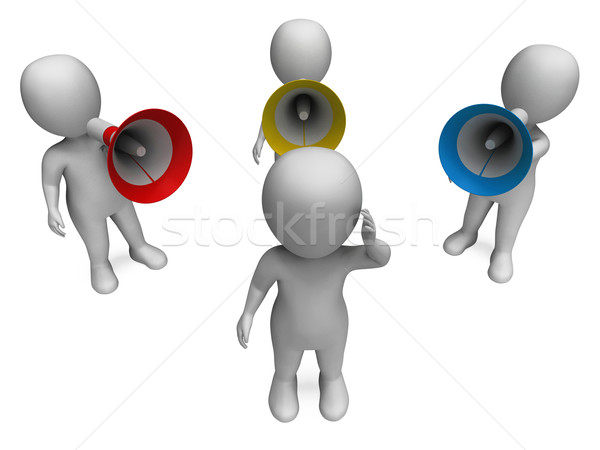 Loud Hailer Character Shows Shouting Yelling And Bullying Stock photo © stuartmiles