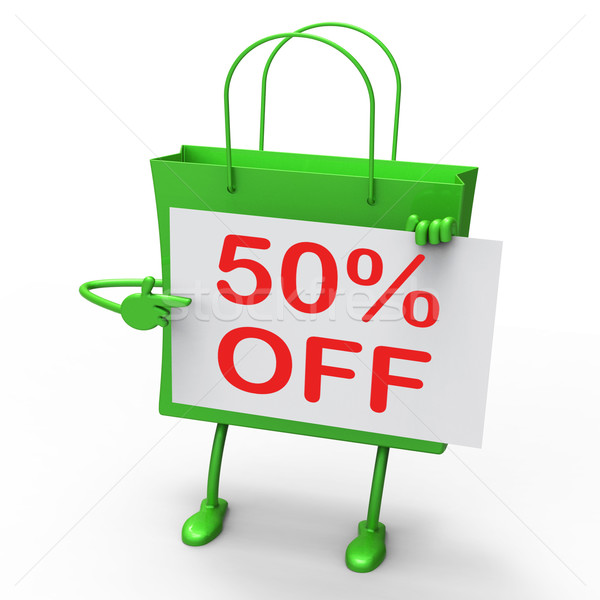 Fifty Percent Reduced On Shopping Bags Shows 50 Bargains Stock photo © stuartmiles