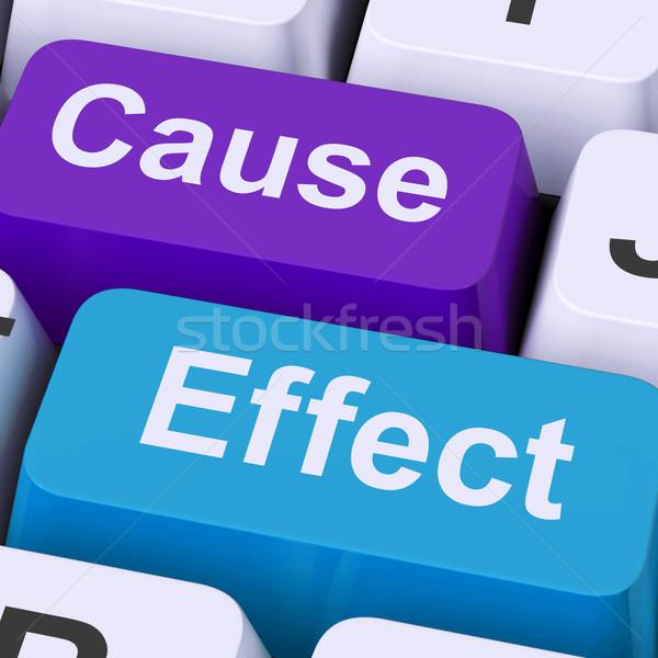 Veroorzaken effect sleutels gevolg actie betekenis Stockfoto © stuartmiles