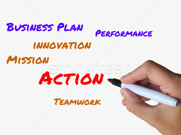 Action Words on Whiteboard Show Activity Mission and Performance Stock photo © stuartmiles