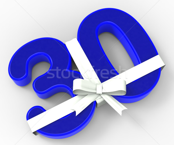 Number Thirty With Ribbon Shows Surprise Birthday Party Or Event Stock photo © stuartmiles