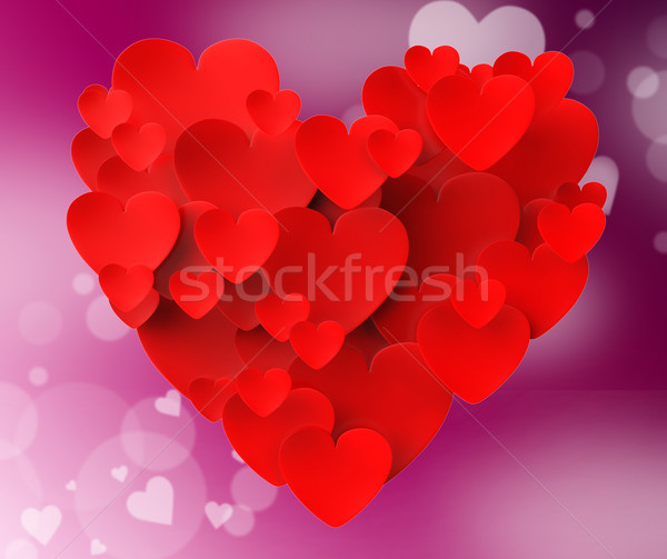 Heart Made With Hearts Means Romanticism Valentines And Love Stock photo © stuartmiles