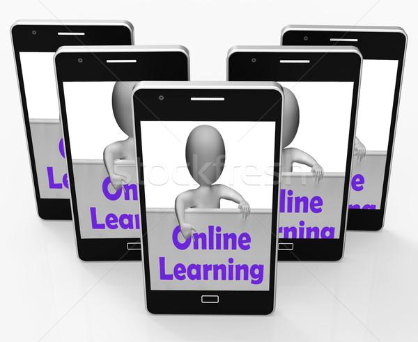 Online tanul felirat telefon online oktatás internet Stock fotó © stuartmiles