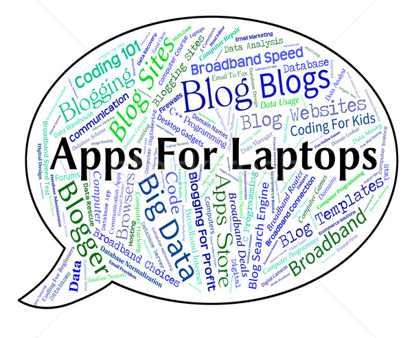 Apps For Laptops Means Application Software And Online Stock photo © stuartmiles