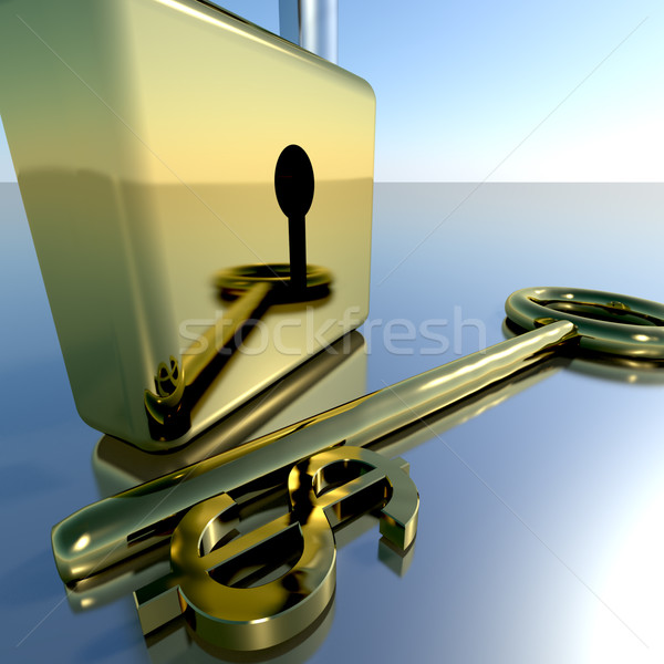 Stock photo: Dollar Key With Padlock Showing Banking Savings And Finance