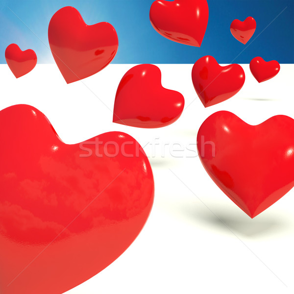 Falling Hearts Representing Love And Adoration Stock photo © stuartmiles