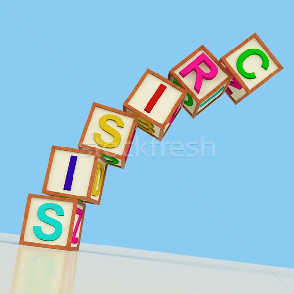 ストックフォト: ブロック · 綴り · 危機 · 下がり · シンボル · 緊急