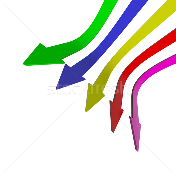 Multicolored Arrows Pointing Down With Blank Copyspace Backgroun Stock photo © stuartmiles