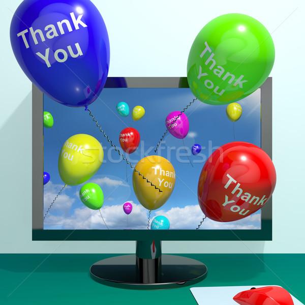 Köszönjük léggömbök számítógép online köszönet üzenet Stock fotó © stuartmiles