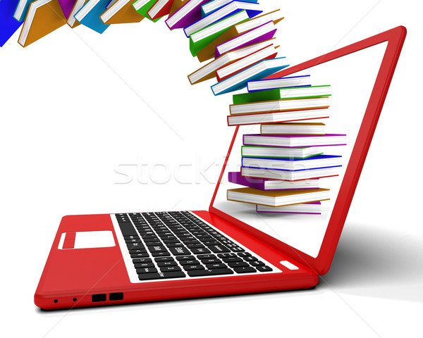 Stack Of Books Flying From Computer Shows Online Learning Stock photo © stuartmiles