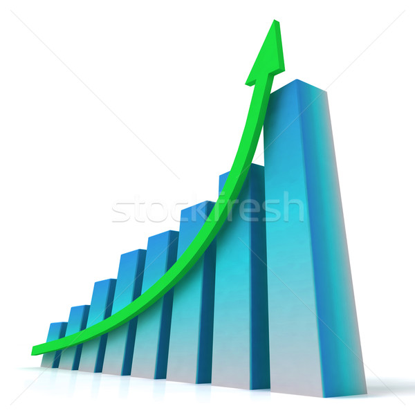 Blue Bar Chart Shows Increased Profit Stock photo © stuartmiles