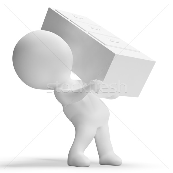 Filing Cabinet Carried By 3d Character Showing Organization Stock photo © stuartmiles