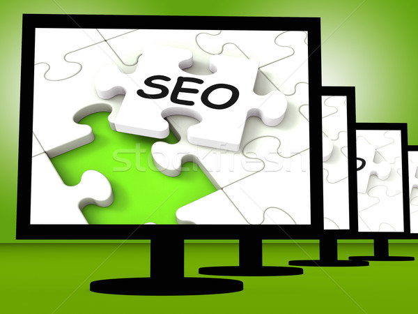 SEO On Monitors Showing Optimized Search Stock photo © stuartmiles