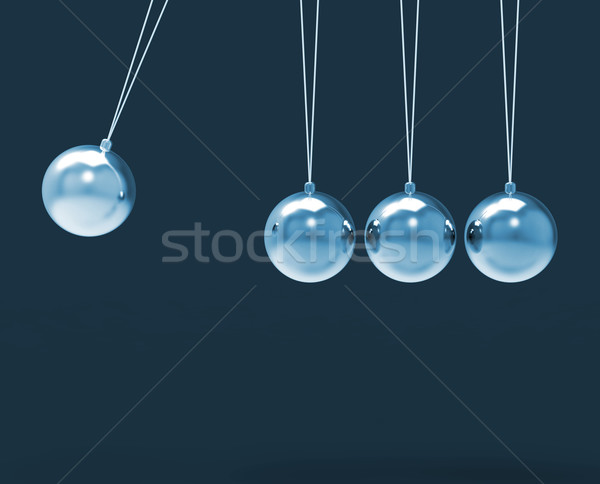Four Silver Newtons Cradle Shows Blank Spheres Copyspace For 4 L Stock photo © stuartmiles