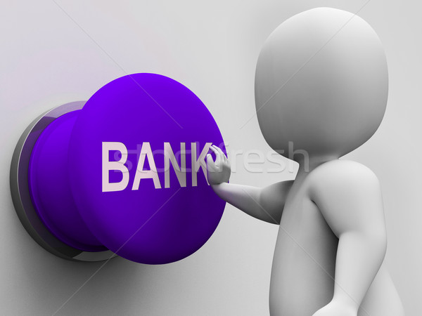 Bank Button Means Transactions Savings And Interest Stock photo © stuartmiles