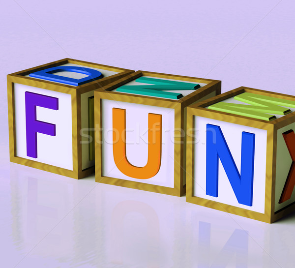 Fun Blocks Mean Joy Pleasure And Excitement Stock photo © stuartmiles