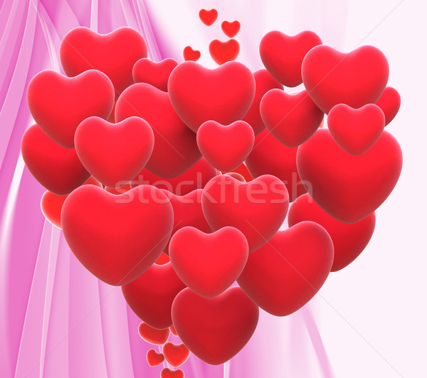 Heart Made With Hearts Means Wedding Party Or Romanticism Stock photo © stuartmiles